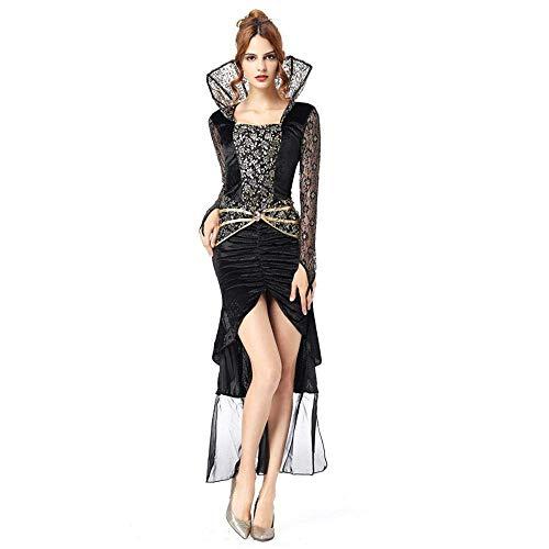 Fashion-Cos1 Schwarz Langes Kleid Erwachsene Halloween Hexe Kostüm Weihnachten Karneval Kleidung Fantasia Infantil Kostüm Vampire Cosplay (Size : M)