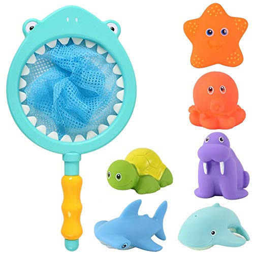 HWD Bath Toy  Fishing Floating Animals Squirts Toys Games Playing Set with Fishing net  Fish Net Game in Bathtub Bathroom Pool for Babies Toddlers and Kids Blue