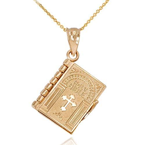 SDLAJOLLA Colar legível, colar da Bíblia legível em miniatura com pingente de oração destacável, o melhor presente para crianças e mulheres