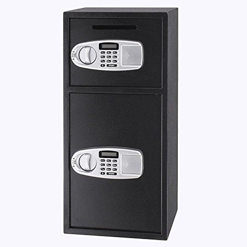Tecmaqui Caja de Fuerte Caja Fuerte de Seguridad con 2 Cajas Separadas Caja Fuerte Digital de Depósito para Seguridad de Joyería, Efectivo, Datos y Otros Objetos Preciosos (2 puertas)