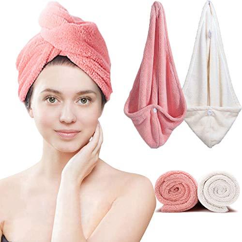 Scopri offerta per Asciugamani per Capelli a Turbante, Microfibra con Bottone, Asciugamani Assorbente Doccia con Pulsante per Tutti i Tipi di Capelli e Lunghezze, Capelli Bagnati Asciugamani da Doccia
