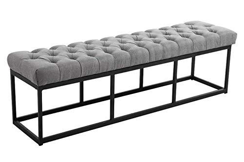 CLP Sitzbank AMUN mit hochwertiger Polsterung und Stoffbezug | Gepolsterte Sitzbank mit mattschwarzem Gestell I Sitzhöhe von: ca. 45 cm, Farbe:grau, Größe:150 cm
