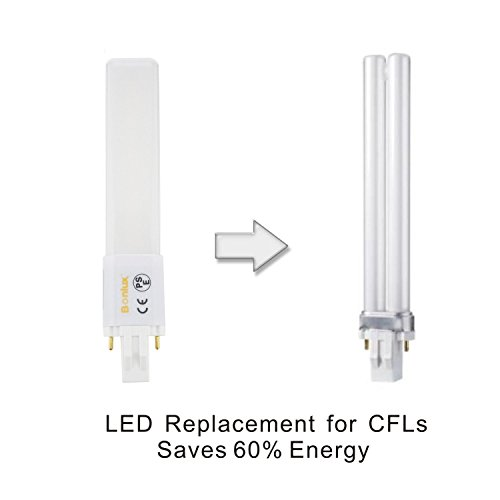 Bonlux 2-Pack 6W GX23 2-Pin LED PL Retrofit Lamp 13W GX23d CFL Replacement 180° Beam Angle Daylight 6000k LED PL Horizontal Recessed Down Light Bulb (Remove/Bypass The Ballast)