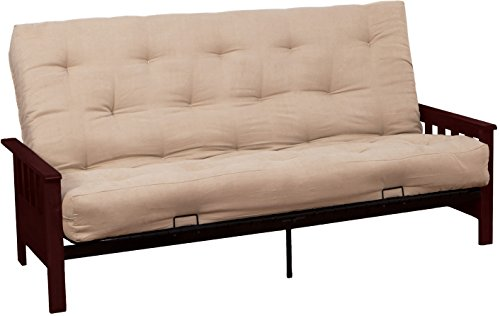 Berkeley 8-Inch Loft Inner Spring Futon Sofa Sleeper Bed, Full-size, Walnut Arm Finish, Microfiber Suede Chocolate Brown Upholstery