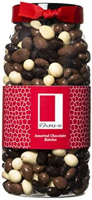 Rita Farhi Milk, Dark and White Chocolate Covered Raisins in a Gift Jar | Vegetarian and Chocolate Gift - Assorted Chocolate Coated Fruit - 870 g