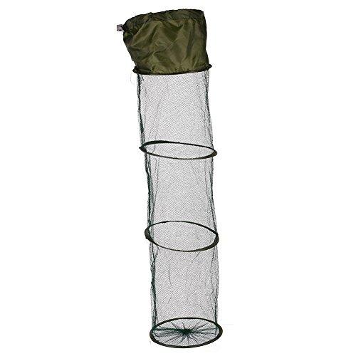 Forfar Angeln Basket Schwimmender Fisch Angeln Ineinander greifen-Netz Basket zusammenklappbar 5 Schichten Faltbare Süßwasser Nylon Schwarz