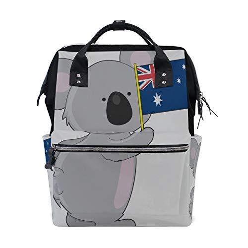 Cute Lazy Little Koala Bear Animal Bolsas de pañales de gran capacidad Mamá Mochila Múltiples funciones Bolso de lactancia Bolso Tote Bolso para niños Cuidado de bebés Viajes diarios Mujeres