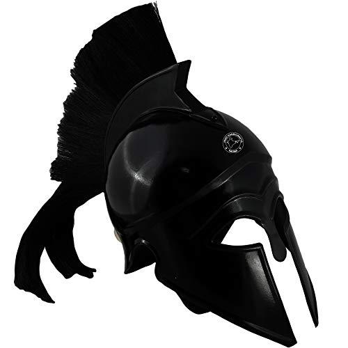 Hind Handicrafts Casco romano de hierro medieval griego Corinthian Spartan 300 - King Leonidas - Accesorios de guerrero - Forro de cuero ajustado - LARP, Halloween y juego de rol