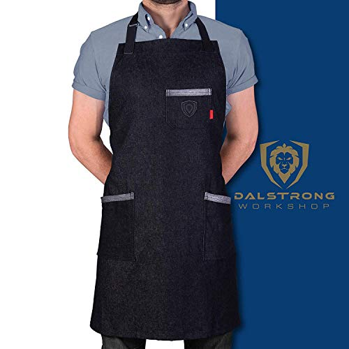 Dalstrong Professional Chef's Kitchen Apron - 100% Cotton Denim - 4 Storage Pockets - Liquid Repellent Coating - Genuine Leather Accents - Adjustable Straps (The Night Rider - 100% Cotton Black Denim)