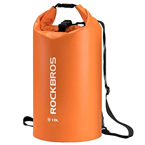 ROCKBROS Dry Bag Wasserdicht Packsack für Wassersport, Strand, Schwimmen Boot Kajak Rafting Segeln Outdoor, Orange, 20L