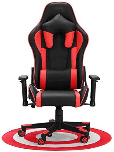 HJW Asiento ergonómico de cuero giratorio ajustable silla de ordenador estilo carreras adultos silla de oficina ajustable Sillón rojo 124-132X70X50cm