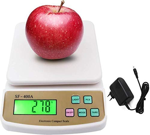 RTB Electronic Kitchen Digital Weighing Scale with Tare Function with Adaptor (10 Kg-SF 400A) - White