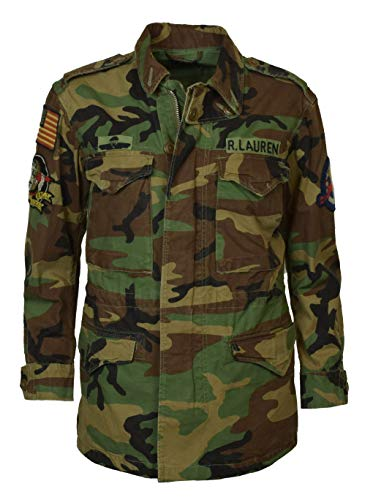Polo Ralph Lauren Women's Camo Military Style Patch Jacket - XS - Green Camo