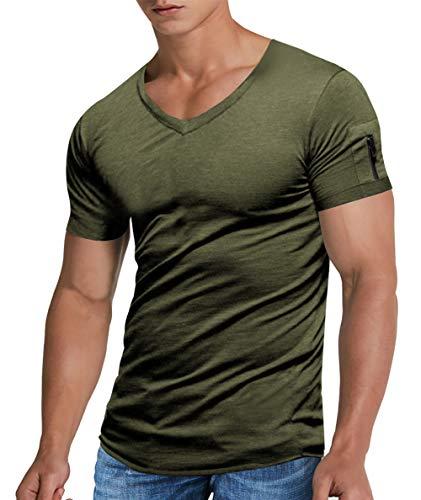 NEWISTAR Herren T-Shirt V-Neck Kurzarm Einfarbig V-Ausschnitt Tops Hemden mit Schulterreißverschluss