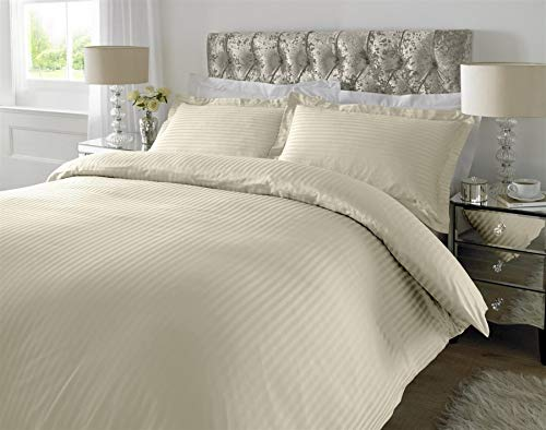 3PC 300TC Thread Count 100% Cotton Duvet Cover Bedding Bed Set - Satin Stripe-Double-Ivory