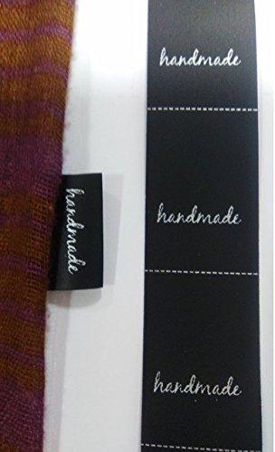 200 etiquetas textiles NEGRAS Handmade, para coser a costura en tus manualidades - Texto en inglés…
