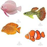NUMAMA 4 piezas de peces artificiales para decoración de acuario, pecera, decoración colorida y ornamentos flotantes
