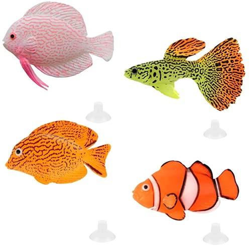 Numama Künstliche Fische für Aquarien, Dekoration für Aquarien, bunt, Dekoration, Landschafts-Ornamente, schwimmend, 4-teiliges Set