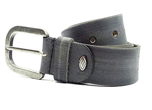 Evil Wear Django Ceinture en cuir Jeans Ceinture en cuir véritable de buffle Ceinture en cuir Jeans Stone Grey - Gris - X-Large