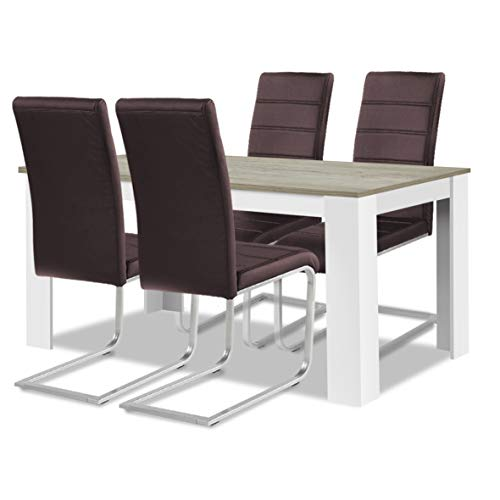 agionda® Esstisch Stuhlset : 1 x Esstisch Toledo Sandeiche Weiss 140 x 90 4 Freischwinger mit Kunstleder braun