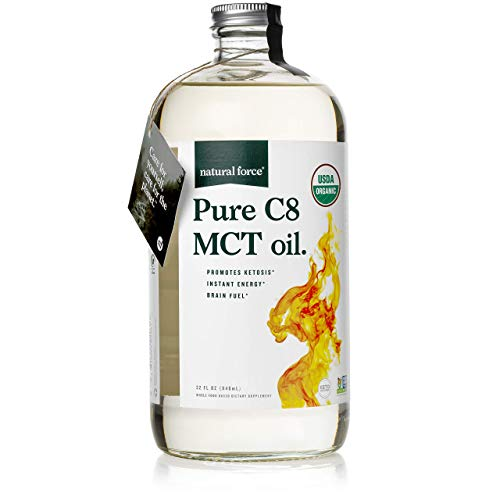 Natural Force Organic Pure C8 MCT Oil – Liquid MCT Oil in Glass Bottle Container – Concentrated Caprylic Acid – Keto, Paleo, Kosher, Vegan & Non-GMO – Lab Tested for Quality and Purity, 32 Ounce