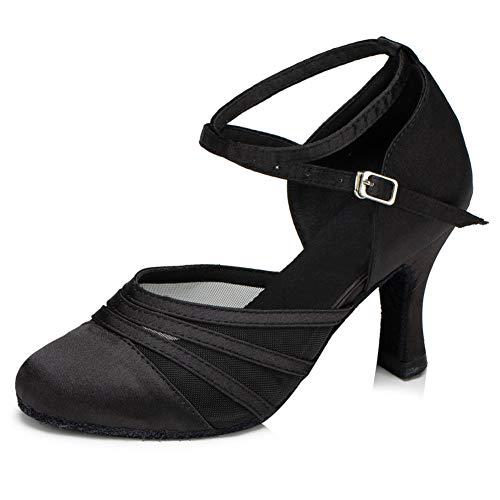 YKXLM Femmes Satin Noir Chaussures de Danse Latine Chaussures de Salle De Bal Salsa Performance Standard,FRYCL189-5, 35 EU