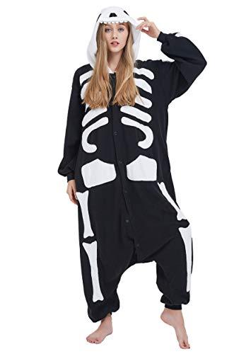 Kigurumi Pigiama Anime Cosplay Halloween Costume Attrezzatura Adulto Animale Onesie Unisex, Scheletro per Altezze da 140 a 187 cm
