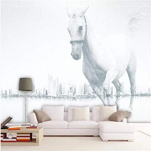 4D behang muurschilderingen, moderne minimalistische abstracte stad gebouw wit Horse grootte kunstdruk wallpaper poster foto voor woonkamer bank tv achtergrond veranda slaapkamer huis muur decor 64in×100in 160cm(H)×250cm(W)