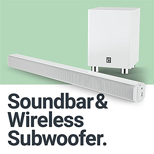 Majority K2 Sound Bar and Wireless Subwoofer   2.1 Surround Sound with Bluetooth   with FM Radio and Multi-Connection