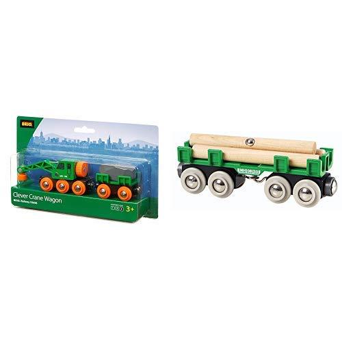 Brio 33698 - Grüner Kranwagen mit Anhänger und Fracht &  33696 - Langholzwagen