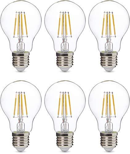 AmazonBasics Professional LED-Leuchtmittel, Edison-Schraubgewinde (E27), entspricht 60-Watt-Birne, Klarglas, Glühfaden-Design, dimmbar, 6 Stück
