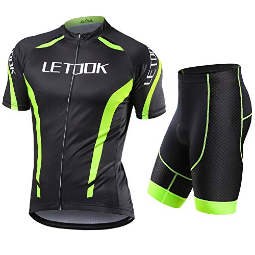 Letook Maillots Ciclismo Hombre Conjunto de Ropa Verano Bicicleta Manga Corta +Pantalones Cortos(Pantalones,L)