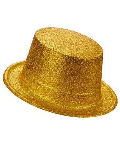 DEGUISE TOI - Chapeau Haut de Forme Plastique pailleté Or Adulte - Taille Unique