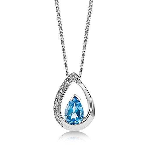 Miore Kette Damen 0.01 Ct Diamant Halskette mit Anhänger Edelstein/Geburtsstein Topas in Blau und Diamanten Brillanten aus Weißgold 9 Karat / 375 Gold, Halsschmuck 45 cm lang