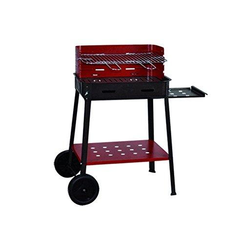 Barbecue à charbon 'Flavia' en fer verni. Avec Roues et plateau latéral. Grille acier avec poignées strip-tease.