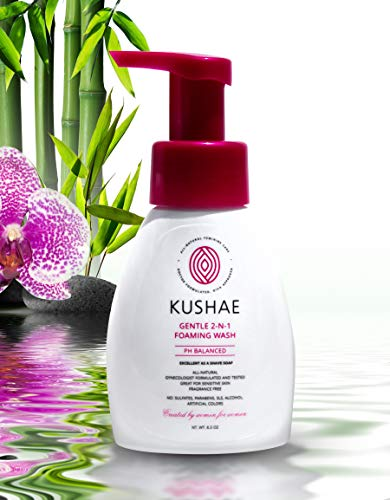 Kushae Gentle 2-in-1 Feminine Foaming Wash - OB/GYN created, all natural, fragrance free feminine wash to balance pH, maintain freshness, and prevent odors; great for sensitive Skin
