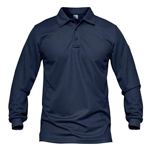 MAGCOMSEN Outdoor Hemd Herren Sportshirt Herbst Polo Taktisch Combat Hemd Männer UV Protection Shirts Quick Dry Shirt Wandern Funktionsshirt mit Taschen Dunkelblau XL