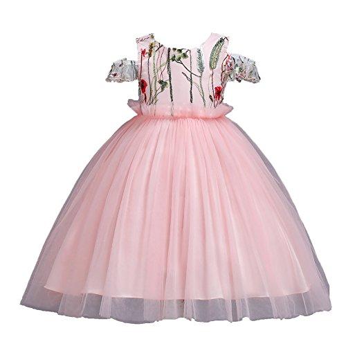 GHTWJJ Mädchen Abendkleid Kleid Mädchen Prom Hochzeit Prinzessin Kleid Kind Bestickte Pudel Rock Solid Color (Pink Blau Rot Weiß) Kurzen Ärmel,Pink,120Cm