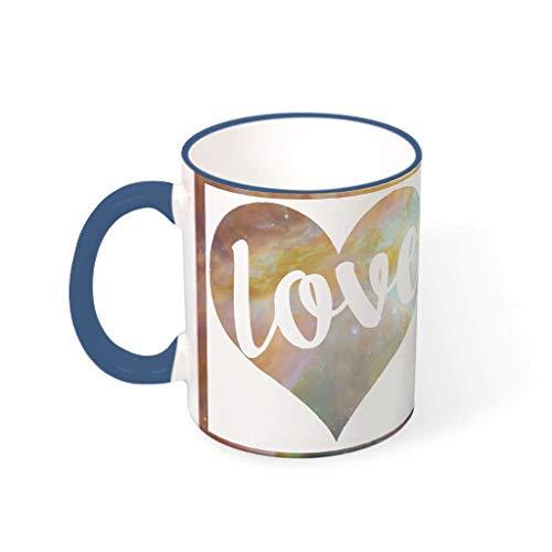 Knowikonwn Love - Taza de café con asa (cerámica, estilo retro, regalo de San Valentín, para hombres, para uso en restaurantes, 11 onzas), cerámica, azul oscuro, 330ml