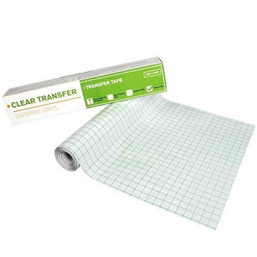 Transferfolie Plotter mit Raster, 30.48 * 914.4 cm Lange Rolle, Transferfolie für Vinyl, Übertragungsfolie Plotter zum Ausrichten und Übertragen für Abziehbilder, Fenster