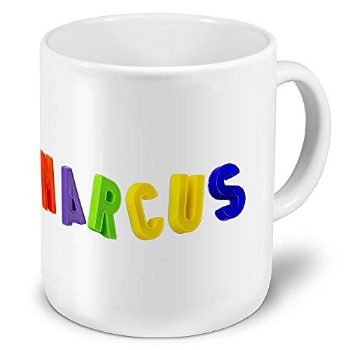 """XXL Riesen-Tasse mit Namen """"Marcus"""" - Jumbotasse mit Design Magnetbuchstaben - Namens-Tasse, Kaffeebecher, Becher, Mug"""