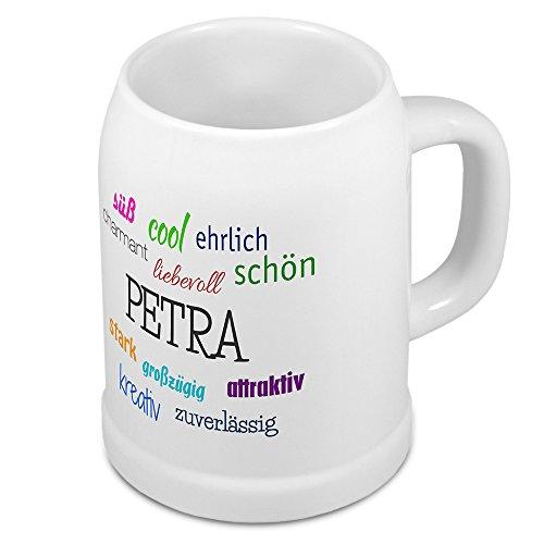 Bierkrug mit Name Petra - Positive Eigenschaften von Petra - Namens-Tasse, Becher, Maßkrug, Humpen