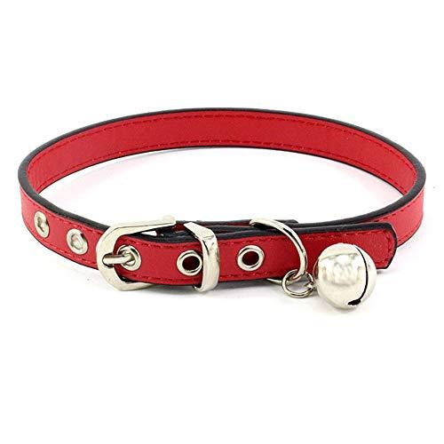 Accod Hundehalsband aus Leder mit Glöckchen, klassisch, für kleine Hunde oder Katzen, Halsumfang verstellbar 17-23 cm, 1 cm breit