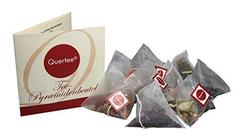 24 x Tee Pyramidenbeutel 4 Teesorten a 6 Teebeutel zum Probieren und Verschenken - Orangenblüte, Ingwer Zitrone, Erdbeer-Orange, Havelländer Gedicht - Tee Probierset - Tee Geschenkset von Quertee® (66 g insgesamt)