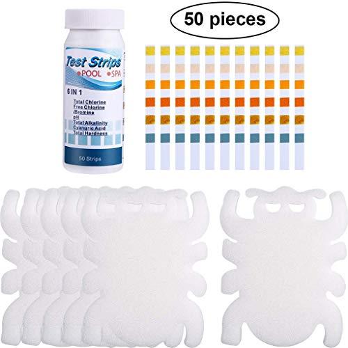 ZZXIAN Schwamm Poolreinigung öLabsorbierender Cartoon Tierform + 50 Stück PH Teststreifen Wasserhärte Schnelltest Wasserpflege FüR Pool (Weiß)