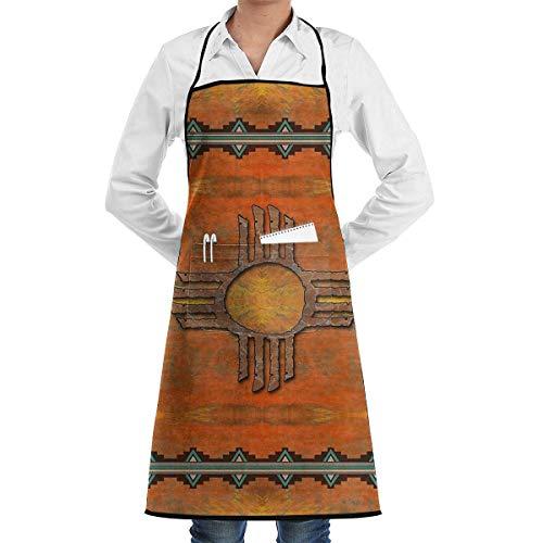 N\A Ancien Mexique Native Illustration Tribal culturel Cuisine Bavoir Tablier avec Poches Tabliers pour Femmes Hommes Cuisson Jardinage