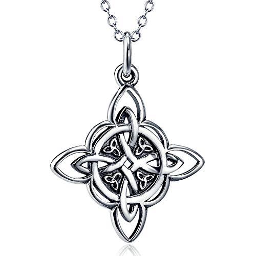 Vintage-Halskette aus 925er Sterlingsilber, keltischer Knoten-Anhänger, Glücksbringer, irischer Schmuck, Halskette, 45,7 cm