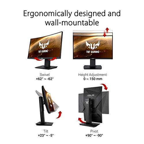 ASUS TUF Gaming VG24VQ 60 cm (23,6 Zoll) Curved Monitor (Full HD, 144Hz, 1ms Reaktionszeit, FreeSync, Shadow Boost, HDMI, DisplayPort)