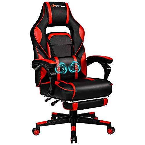 Goplus Massage Gaming Chair, Reclining Backrest, Seat Height Adjustment Racing Computer Office Chair with Footrest, Ergonomic High Back PU Swivel Game Chair (Red)
