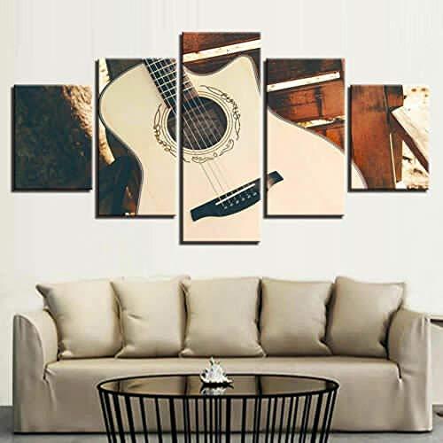 YB Klassieke gitaar, houten akoestisch canvas, muurkunst, huisdecoratie, poster printen, 20 x 30 cm-2p 20 x 40 cm-2p 20 x 50 cm-1p, geen lijst